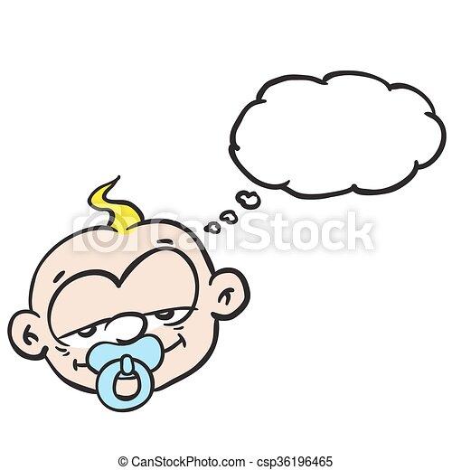 Bebé durmiente con burbuja de pensamiento - csp36196465