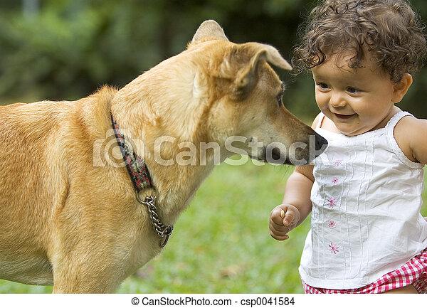 Todler y perro - csp0041584