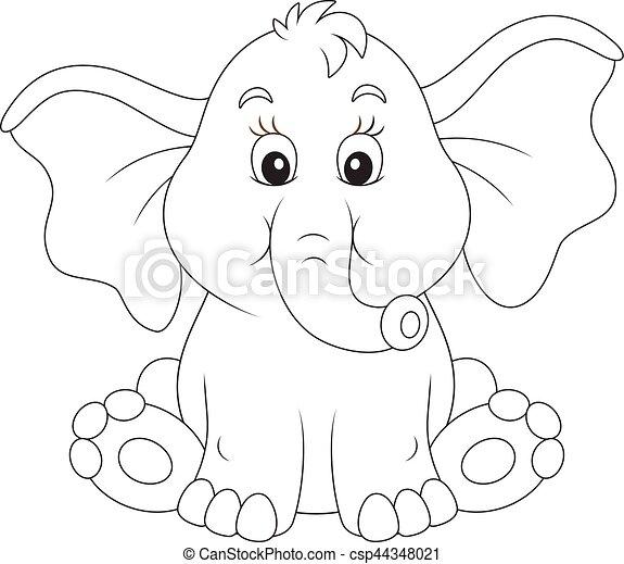 Bebé, sorprendido, elefante. Sentado, ilustración, vector, negro ...
