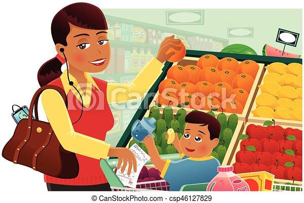 Una mujer de compras con el bebé - csp46127829