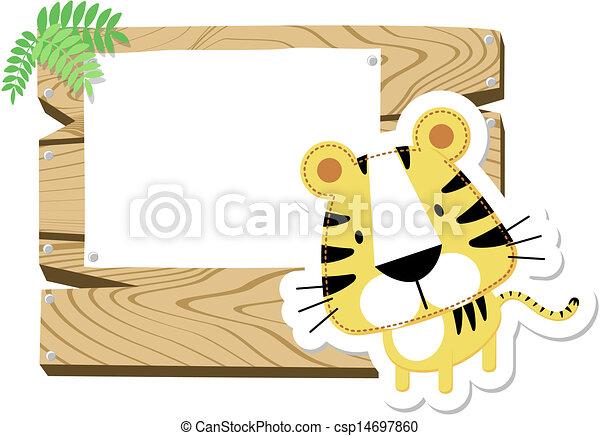 bebé, tigre, tabla, señal - csp14697860