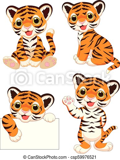 Coleccion de tigres bebés de dibujos animados - csp59976521
