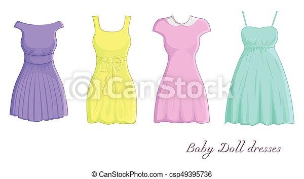 Vestidos De Muñeca Un Conjunto De Cuatro Vestidos