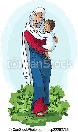 Bebé Virgen Maria Tenencia Jesús Ilustración Jesús Virgen