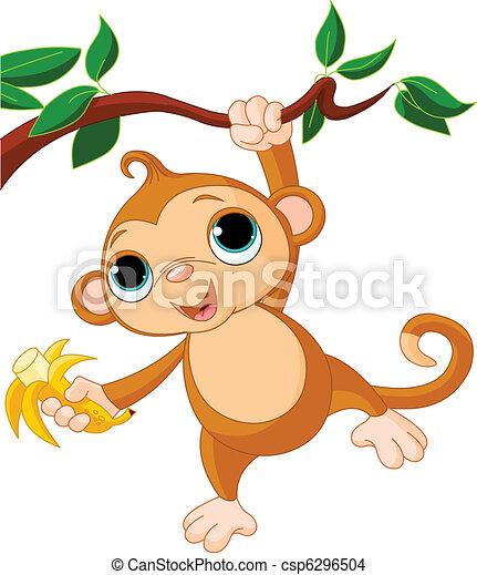 Bebe Arvore Macaco Cute Macaco Arvore Prendendo Bebe Banana