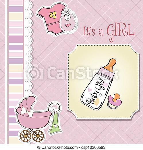 bebê, anúncio, menina, cartão - csp10366593