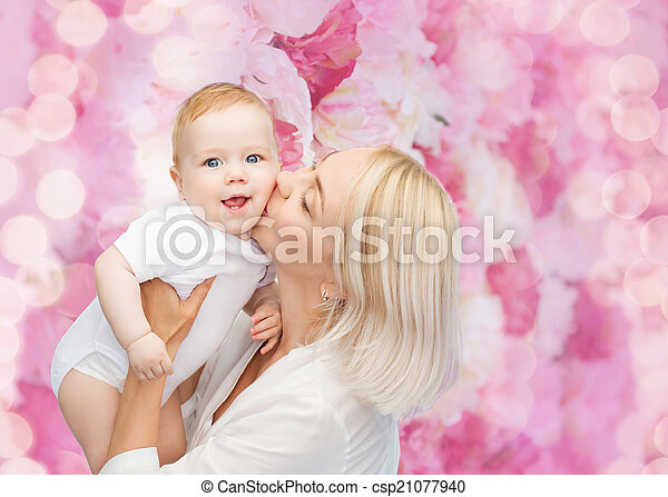 bebê, beijando, sorrir feliz, mãe - csp21077940