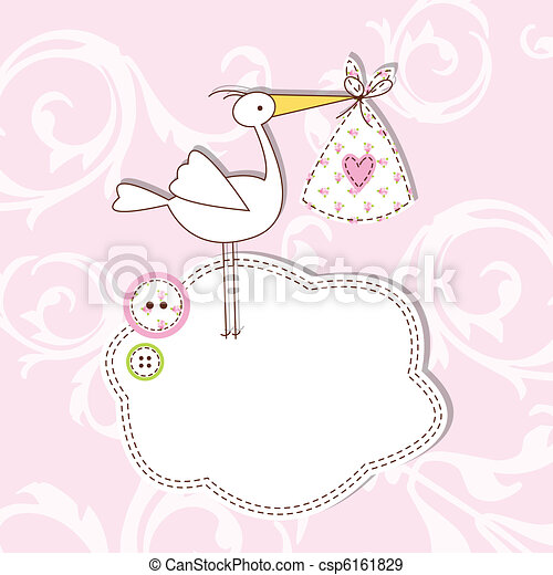 bebê, cartão, chegada - csp6161829