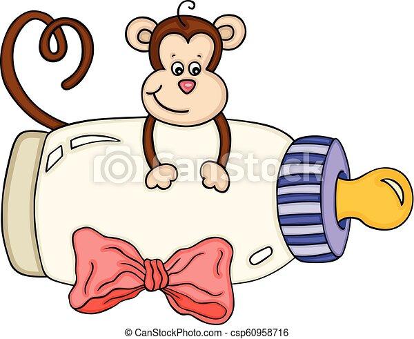 Bebe Cute Macaco Garrafa Leite Cute Leite Macaco Isolado