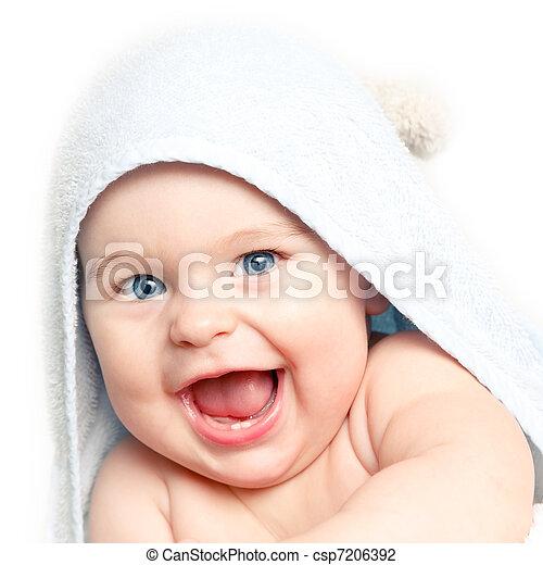 bebê, cute, sorrindo - csp7206392