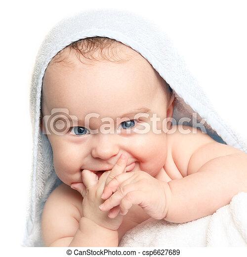 bebê, cute, sorrindo - csp6627689