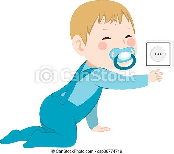 bebê, descoberto, tomada - csp36774719