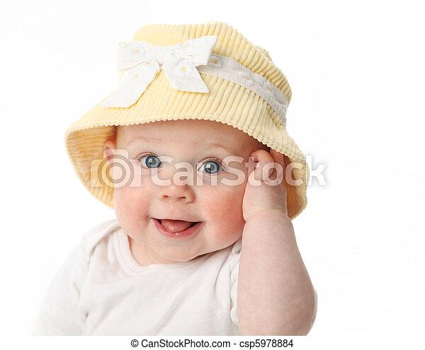 bebê, desgastar, sorrindo, chapéu - csp5978884