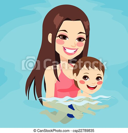 bebê, ensinando, menino, mãe, natação - csp22789835
