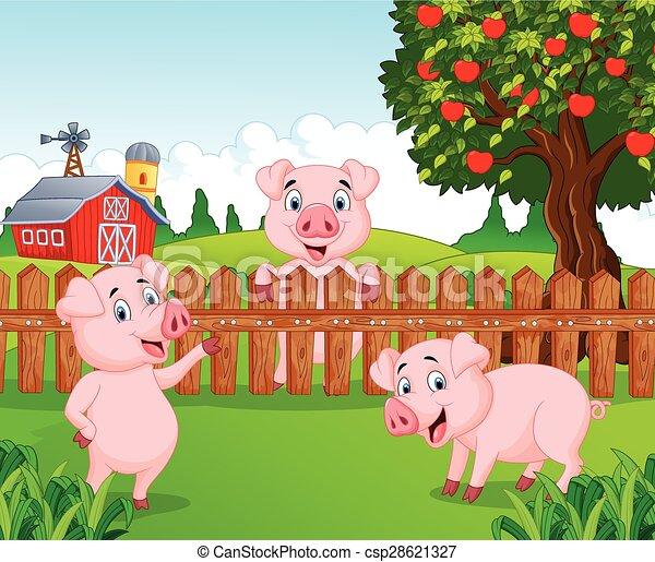 bebê, fa, adorável, caricatura, porca - csp28621327