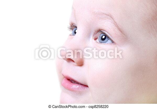 bebê, fim, agradável, cima, rosto - csp8258220