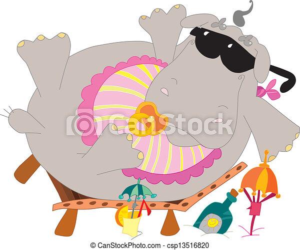 bebê, hipopótamo - csp13516820
