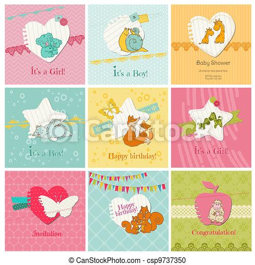 bebê, jogo, coloridos, -, chegada, vetorial, aniversário, convite, cartões, parabéns - csp9737350