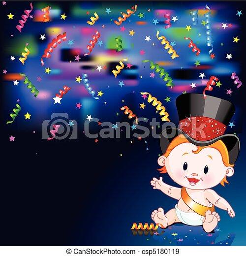 bebê, novo, cartão, ano - csp5180119