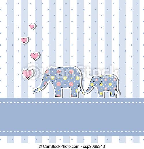 bebê, novo, chuveiro, cartão, convite - csp9069343