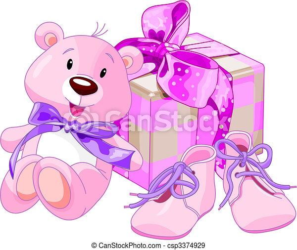 bebê, presentes, menina - csp3374929