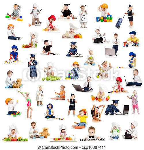 bebê, profissões, crianças, jogo, crianças - csp10887411