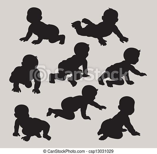 bebê, silhuetas - csp13031029