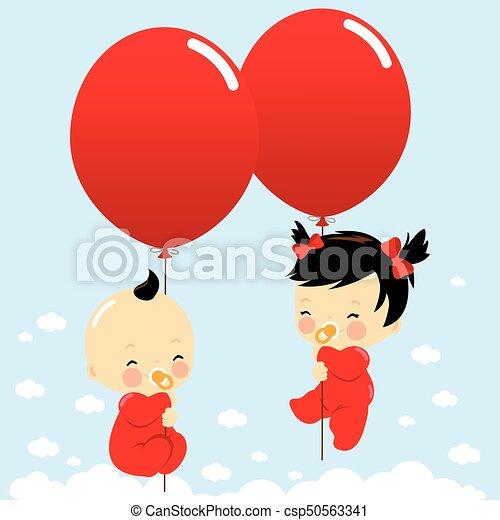 Bebés sosteniendo globos y volando en el cielo. Ilustración de vectores - csp50563341