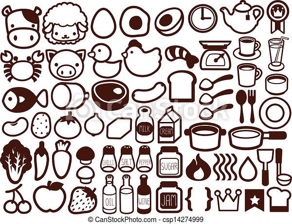 50 comida y bebida icono - csp14274999