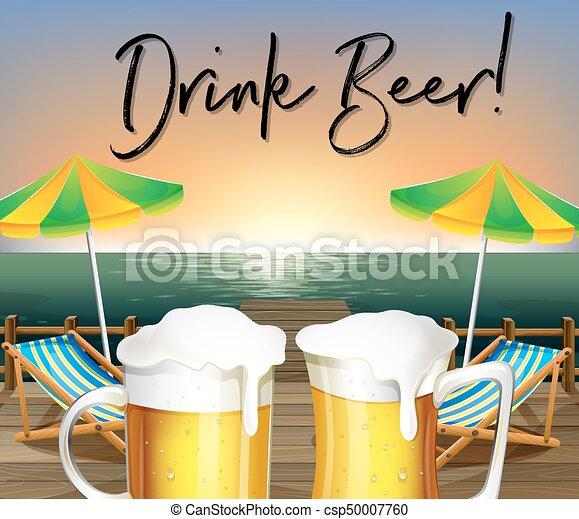 Dos Vasos De Cerveza Y Vista A La Playa Con Frases Beben