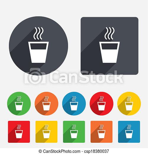 bebida, símbolo., señal, agua, caliente, icon. - csp18380037