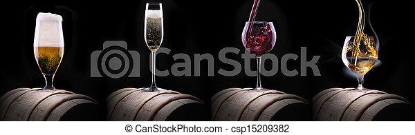 bebidas, conjunto, negro, alcohol, aislado - csp15209382
