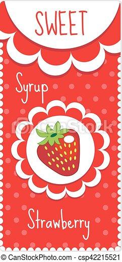 Dulces Etiquetas De Frutas Para Bebidas Jarabe Mermelada La Etiqueta De Fresa Ilustración De Vectores Canstock