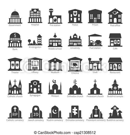 bebyggelse, sätta, ställen, vektor, gemensam, ikon - csp21308512
