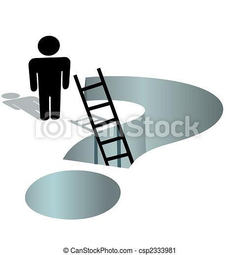 bedürfnisse, hilfe, frage, tief, markierung, person, fragen, loch - csp2333981