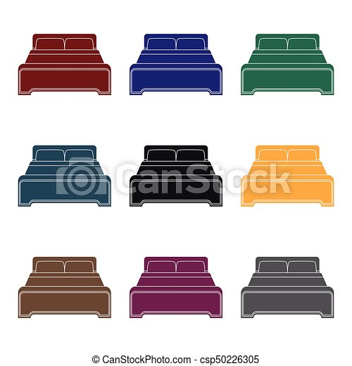 Bed icon in black style isolated on white background. Hotel symbol stock vector illustration. - csp50226305