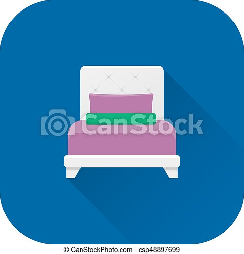 Bed icon. Vector. Flat design with long shadow. - csp48897699