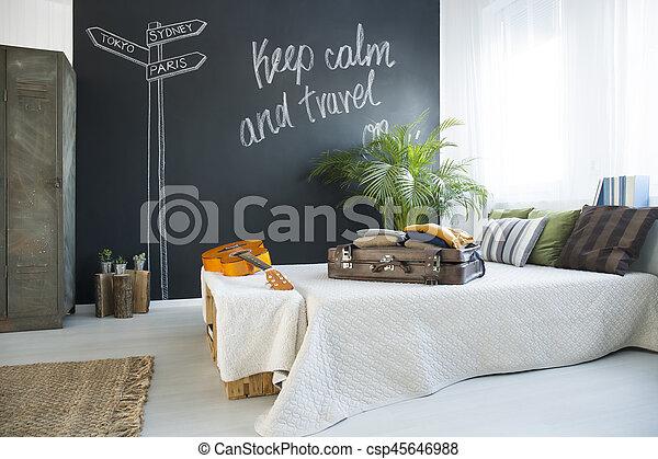 Bed in modern bedroom - csp45646988