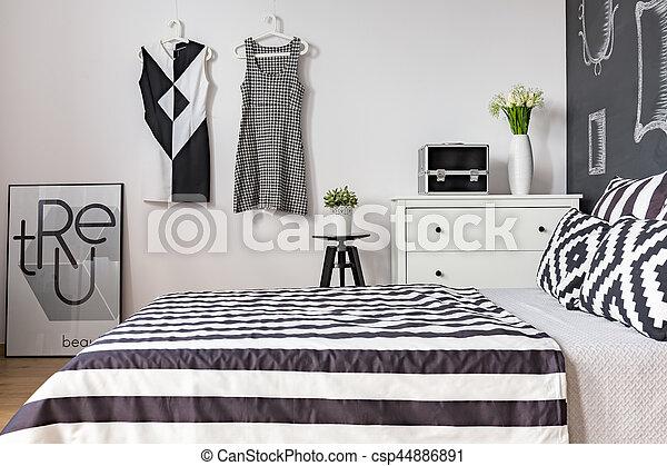 Bed in modern bedroom - csp44886891