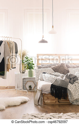 Bed in modern bedroom - csp46792097