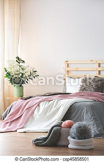 Bed in modern bedroom - csp45858501