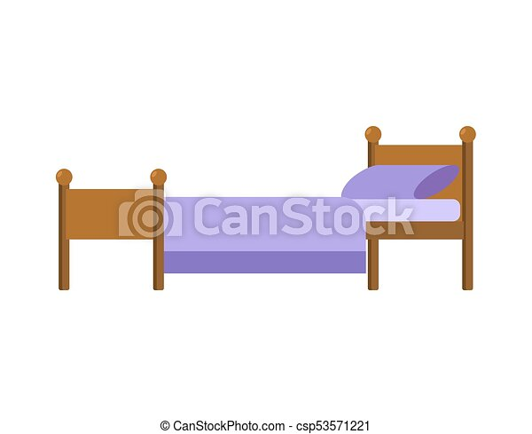 Bed isolated. Blanket and pillow. Vector illustration - csp53571221