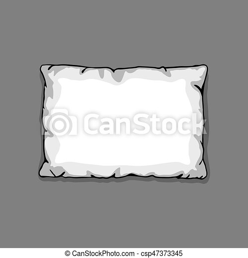 Bed pillow template isolated on gray background. Sketch illustration - csp47373345