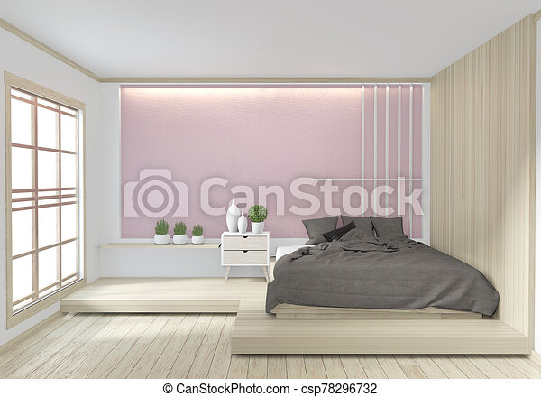 Bed Room Pink Color Japanese Interior Design 3d Rendering Mock Up Room Interior Design 3d Rendering Canstock