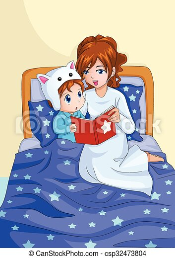 Bed time story cartoon illustration of a mother vector for Bed stories online