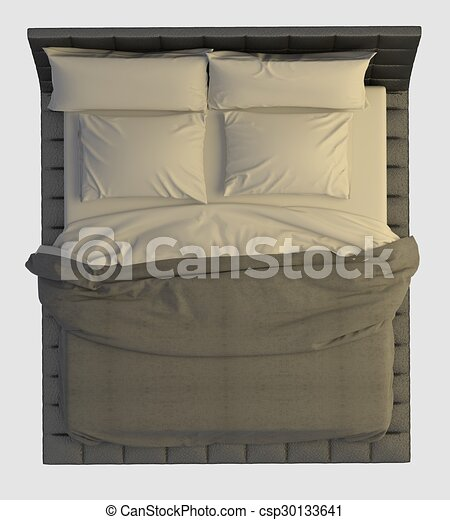 Bed top view Psd Bed Top View Isolated On White Csp30133641 Can Stock Photo Bed Top View Isolated On White Bed With Pillows And Blanket