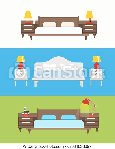 Bed vector set. Modern bedroom interior. Wooden furniture set. Bed with nightstand and lamp. Bed linen with cushions - csp34638897