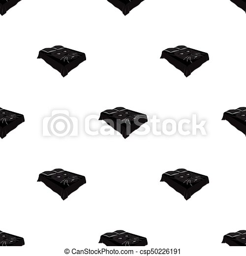 Bed with a blanket. Beds single icon in monochrome style vector symbol stock illustration web. - csp50226191
