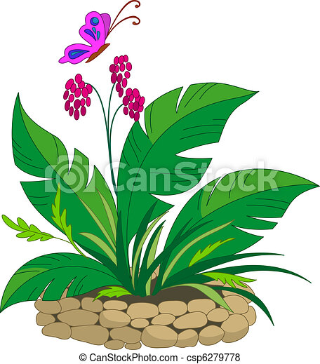 Bed with a tropical plant - csp6279778