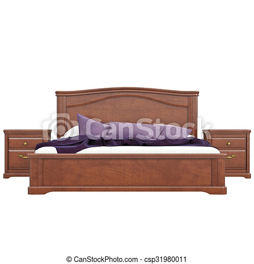 bed with bedside tables front view 3d graphic isolated clipart rh canstockphoto com Sofa Side View Table Side View